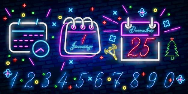 Kalendarz Niebieski świecące Neonowe Ikony Ui Ux. świecące Logo Znaku Premium Wektorów