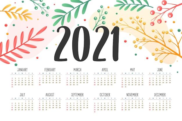 Kalendarz Noworoczny Z Dekoracją Kwiatową Darmowych Wektorów