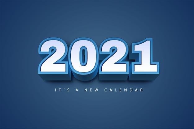 Kalendarz Nowy Rok 2021, Ilustracja Wakacje Szablon Niebieskie Kolorowe Tło Premium Wektorów