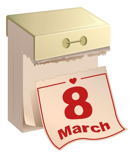 Kalendarz Odrywania 8 Marca. Międzynarodowy Dzień Kobiet. Angielski Tekst Premium Wektorów