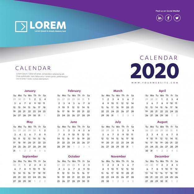Kalendarz ścienny 2020 kolorowy szablon Premium Wektorów