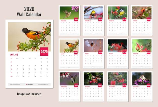 Kalendarz ścienny na rok 2020 Premium Wektorów