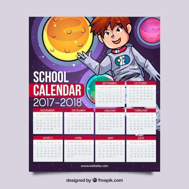 Kalendarz Szkoły Z Astronautą I Ręcznie Rysowanymi Planetami Darmowych Wektorów