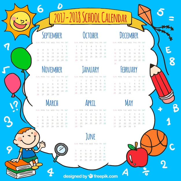 Kalendarz szkoły z elementami ręcznie rysowanymi Darmowych Wektorów