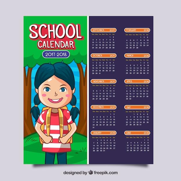 Kalendarz szkoły z nicei wyciągnąć rękę dziewczynka Darmowych Wektorów