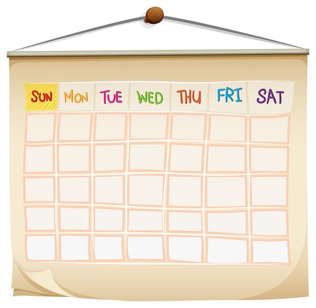 Kalendarz Z Dniami Tygodnia Darmowych Wektorów