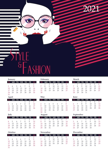 Kalendarz Z Kobietą Mody W Stylu Pop-art. Premium Wektorów
