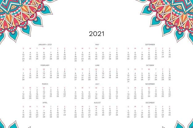 Kalendarz Z Mandalami. Darmowych Wektorów