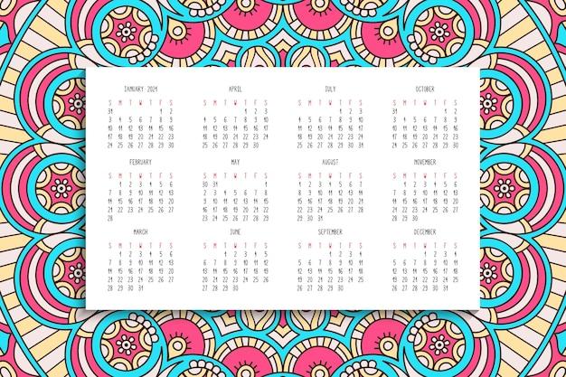 Kalendarz Z Ornamentem Mandali Darmowych Wektorów