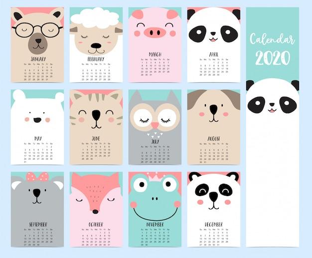 Kalendarz zwierząt 2020 z lasem dla dzieci. Premium Wektorów