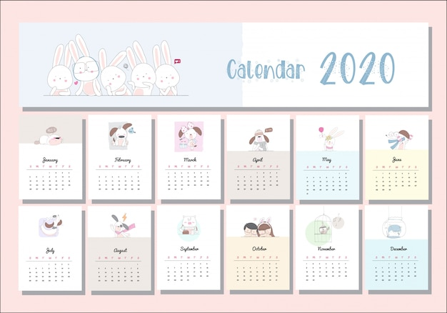 Kalendarz zwierząt kreskówka zestaw 2020 Premium Wektorów