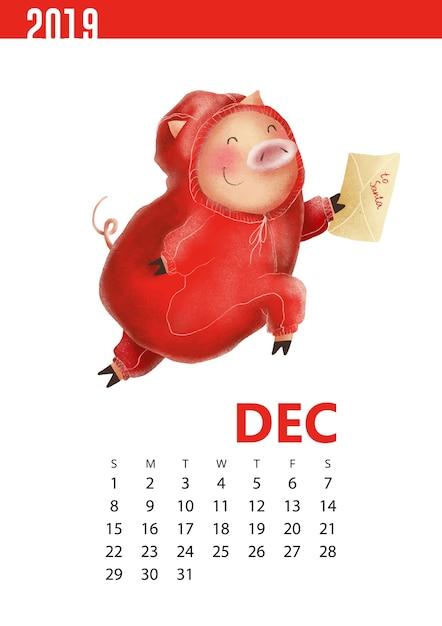 Kalendarzy ilustracja śmieszna świnia dla grudnia 2019 Premium Wektorów