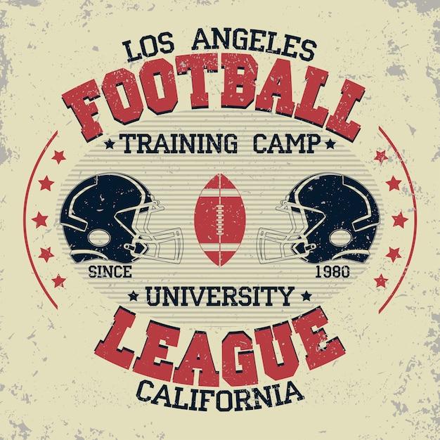 Kalifornijska Typografia Piłkarska, Grafika Znaczków Na T-shirt, Projekt Koszulki Sportowej W Stylu Vintage Premium Wektorów