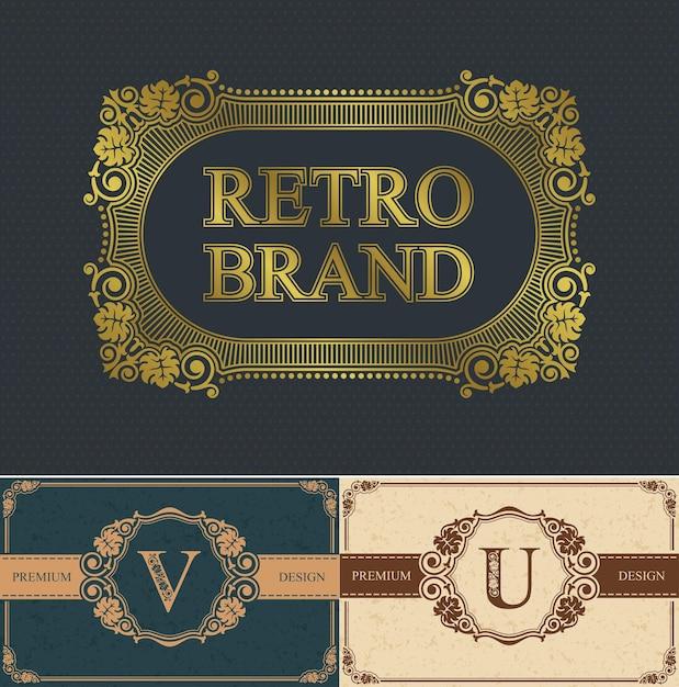 Kaligraficzna Litera V I U Oraz Obramowanie Marki Retro, Obramowanie Luksusowego Projektu, Dekoracje Eleganckie Królewskie Linie Premium Wektorów