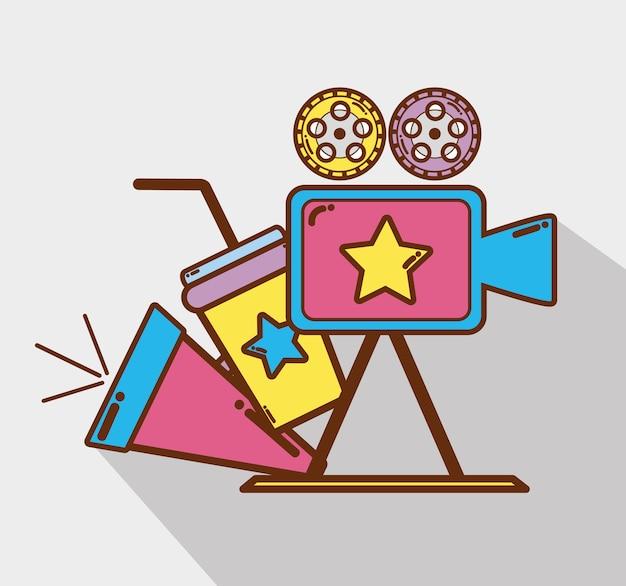 Kamera Wideo Z Tubą, Sodą I Taśmami Filmowymi Premium Wektorów