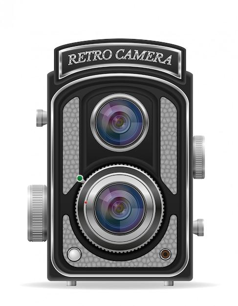 Kamery Fotografii Stara Retro Rocznika Wektoru Ilustracja Premium Wektorów