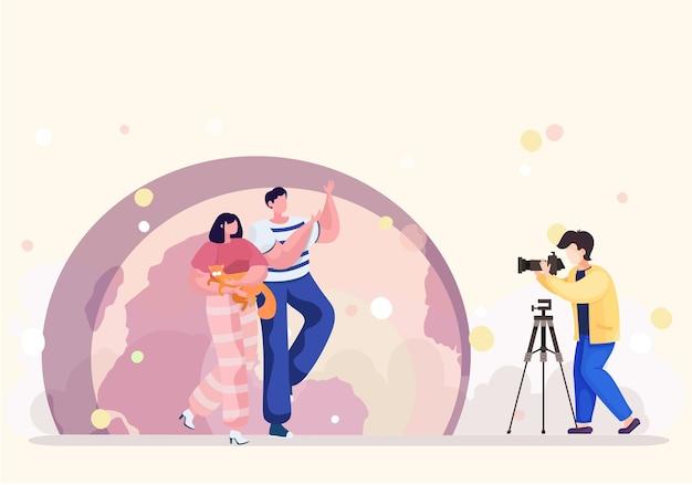 Kamerzysta świadczy Profesjonalne Usługi Fotografowania Zwierząt W Parku. Wieczorna Sesja Zdjęciowa Pary Z Kotem Na Tle Księżyca. Zakochana Para Nakazuje Strzelanie Do Swojego Kota Premium Wektorów