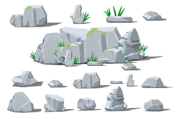 Kamień Duży Kamień Kreskówka. Premium Wektorów
