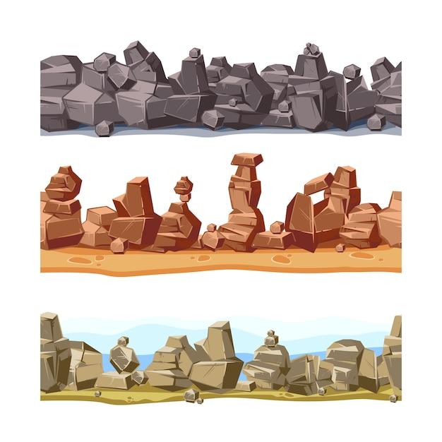 Kamienie i natura kołysają ustawiają z kreskówki zieloną trawą. wektor kamień i skała ustalone ilustracje odizolowywać na białym tle Premium Wektorów