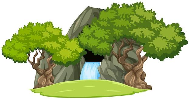 Kamienna Jaskinia Wodospad Z Drzewami Na Białym Tle Darmowych Wektorów