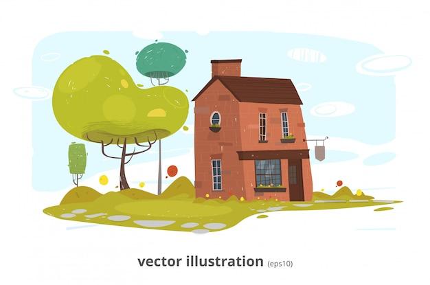 Kamienna wioska lub ceglana gospodarstwo rolne ilustracja Premium Wektorów