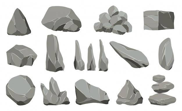 Kamienne Kamienie. Kamień Grafitowy, Węgiel I Skały Na ścianę Lub Kamyk Górski. Premium Wektorów
