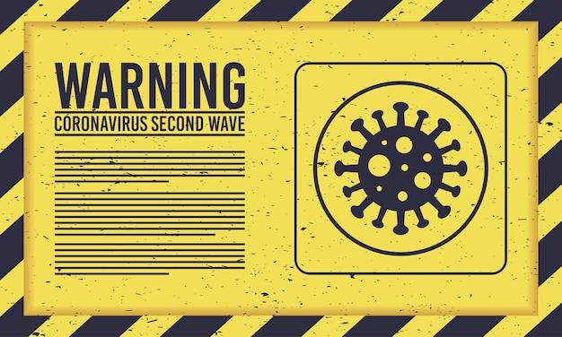 Kampania Drugiej Fali Covid19 Z Cząsteczką Wirusa W żółtym Znaku Premium Wektorów
