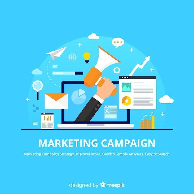 Kampania marketingowa płaskie tło Darmowych Wektorów