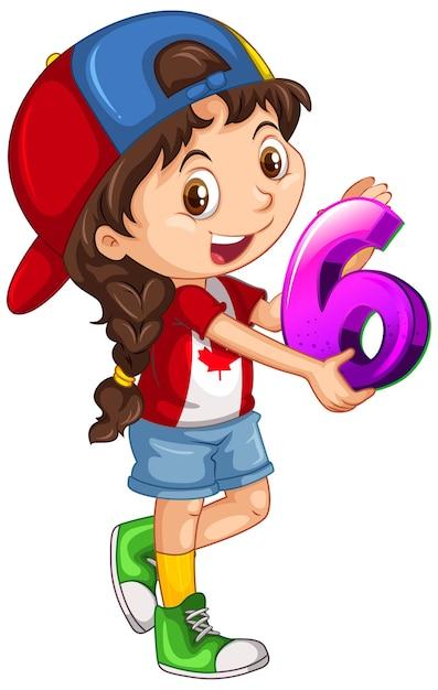 Kanadyjska Dziewczyna W Czapce Trzymając Numer Matematyki Sześć Darmowych Wektorów