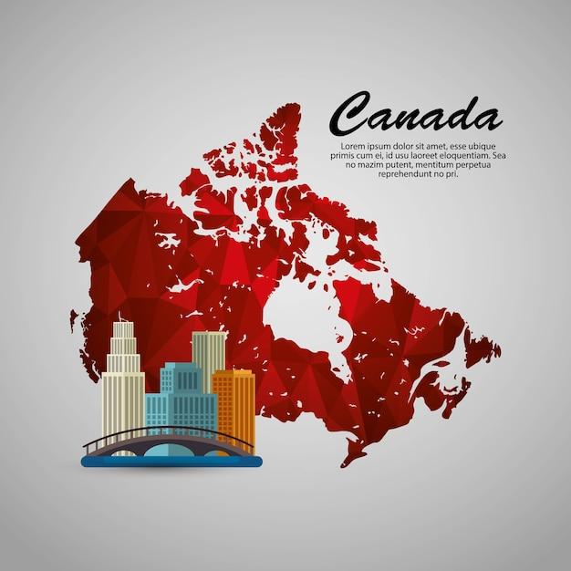Kanadyjska Scena Pejzaż I Mapa Wektor Ilustracja Projektu Premium Wektorów
