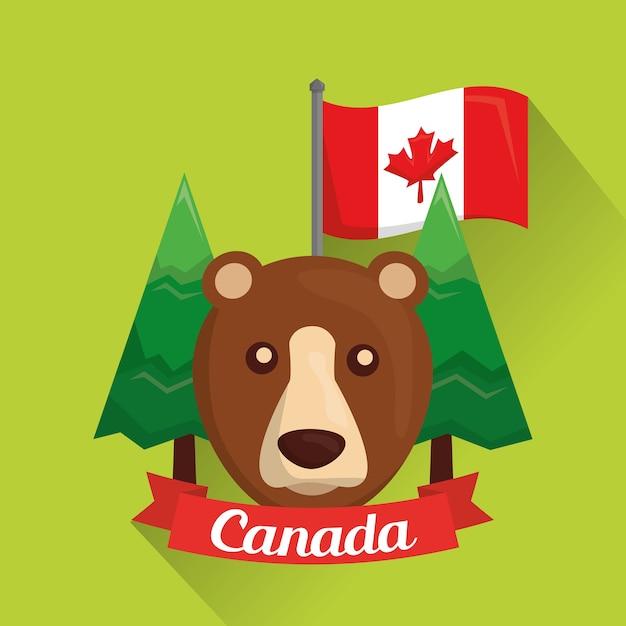 Kanadyjski Grizzly Niedźwiedź Sosny I Flaga Premium Wektorów