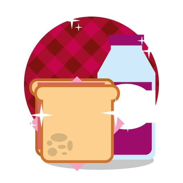 Kanapka piknikowa i sok z winogron w butelce Premium Wektorów