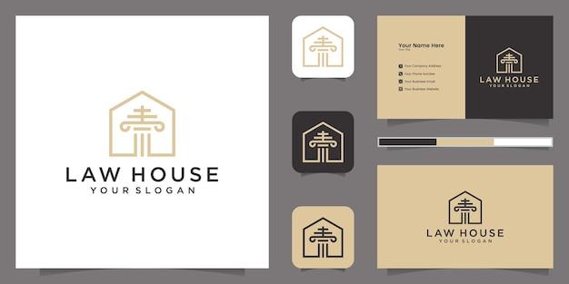 Kancelaria Prawna I Inspiracja Szablonem Logo Domu I Wizytówką Premium Wektorów