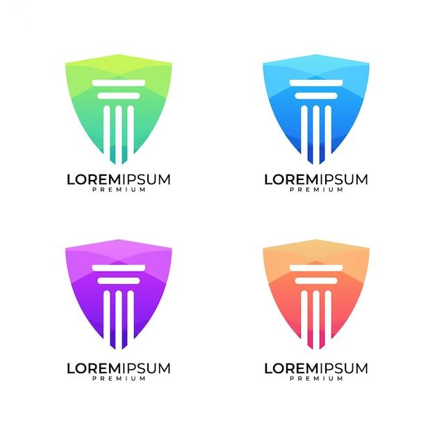 Kancelaria Prawna Tarcza Kolorowy Zestaw Logo Premium Wektorów