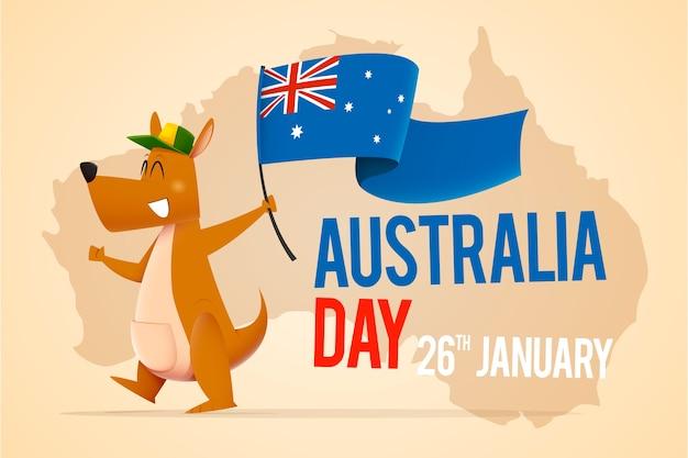 Kangur Z Kapeluszową Mienie Flaga Dla Australia Dnia Darmowych Wektorów