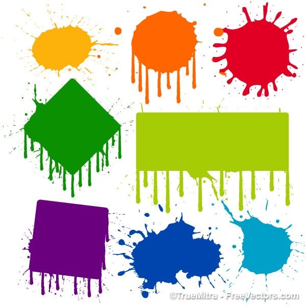 Kapanie farby kolorowe znaki ustawione Darmowych Wektorów
