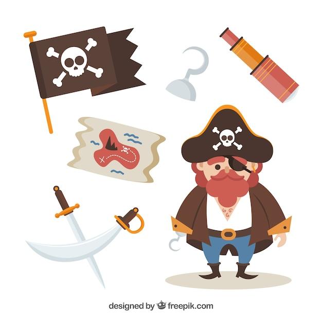 Kapitan Pirate Z Elementami Darmowych Wektorów