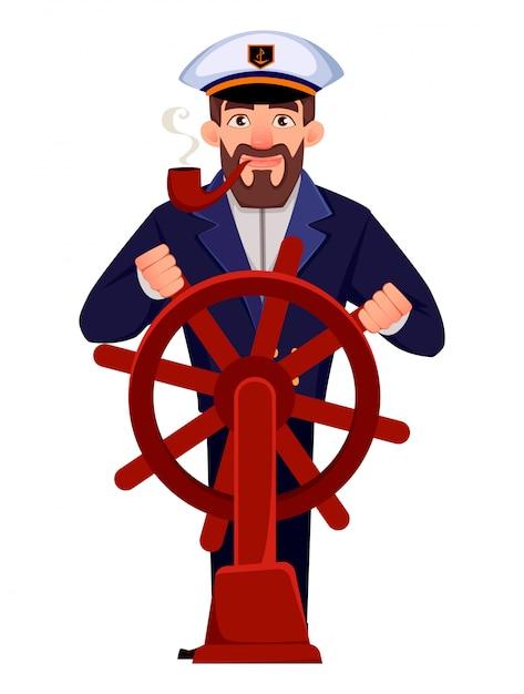Kapitan statku w profesjonalnym mundurze Premium Wektorów