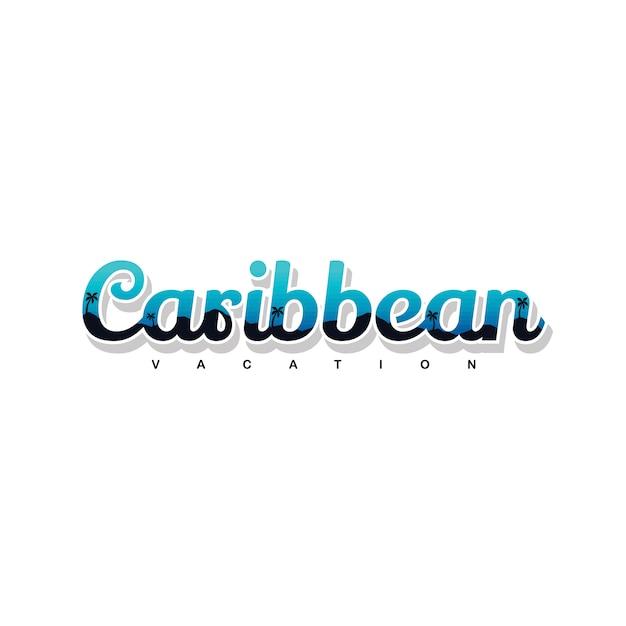 Karaibscy Wakacje Letni Plaży Znaka Symbolu Wektoru Sztuka Premium Wektorów