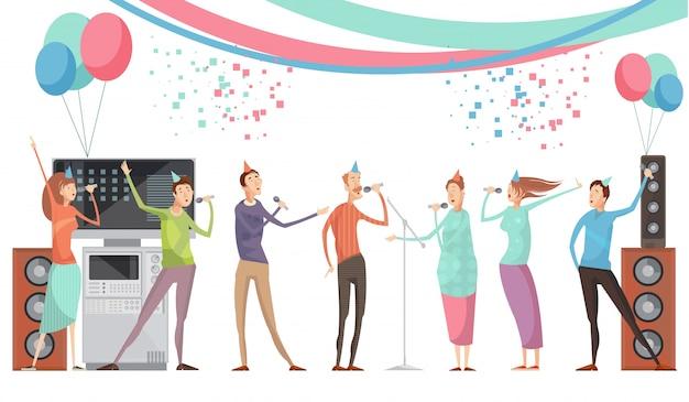 Karaoke partyjny pojęcie z grupą przyjaciele śpiewa płaską wektorową ilustrację Darmowych Wektorów