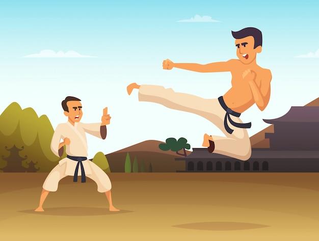 Karate fighters cartoon ilustracji wektorowych, sztuki walki sportu Premium Wektorów