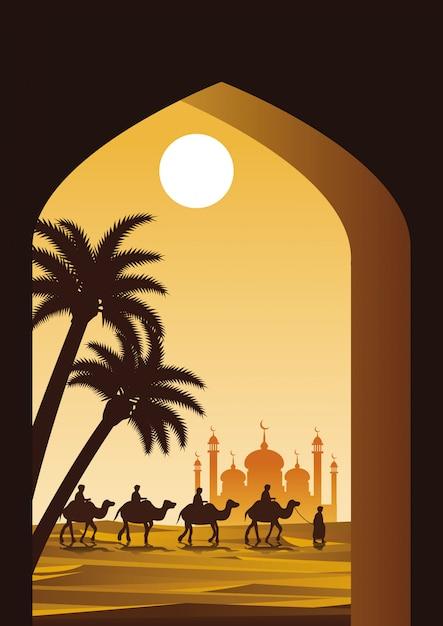 Karawana muzułmańska jeździć wielbłąda do meczetu Premium Wektorów