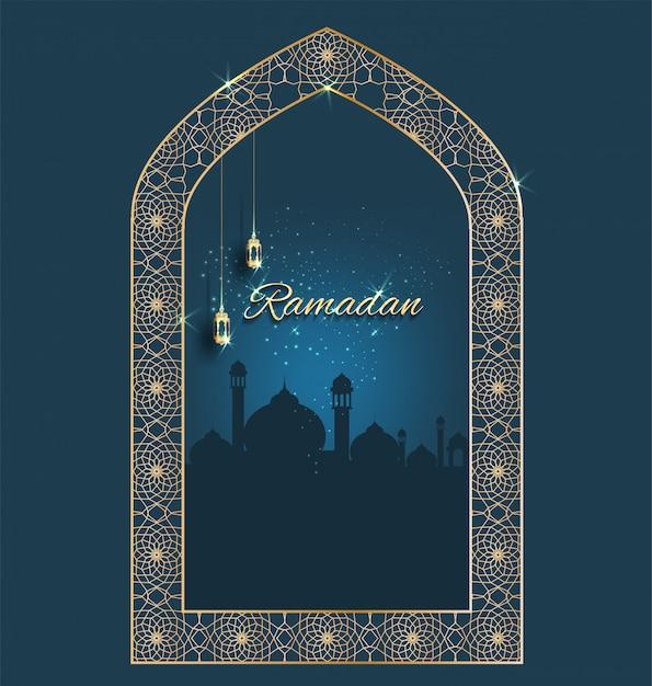 Kareem ramadan ze złotym ozdobnym półksiężycem z oknami Premium Wektorów