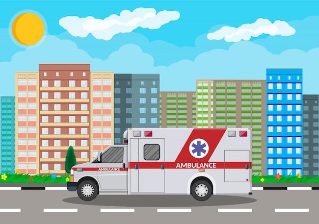 Karetka Pogotowia Samochód Transport Szpitalny Premium Wektorów