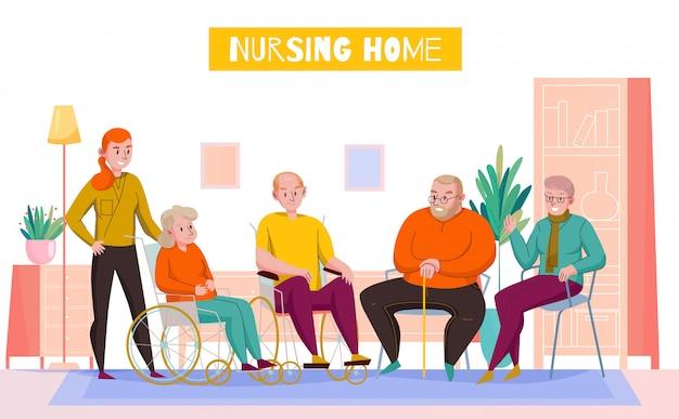 Karmiącego Domowego Dnia Pokoju Płaskiego Horyzontalnego Skład Z Personelem Pomaga Starszych Mieszkańców W Wspólnej Holu Wektoru Ilustraci Darmowych Wektorów