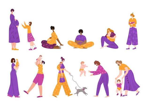 Karmienie Piersią, Macierzyństwo, Oczekiwanie Na Koncepcję Dziecka I Ciąży, Zestaw Izolowanych Postaci, Młode Matki Lub Kobiety W Ciąży Premium Wektorów