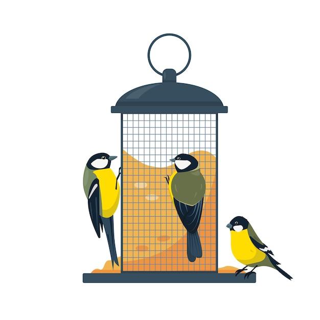 Karmnik Dla Ptaków Z Jedzeniem Ptaków Cycki Na Białym Tle Premium Wektorów
