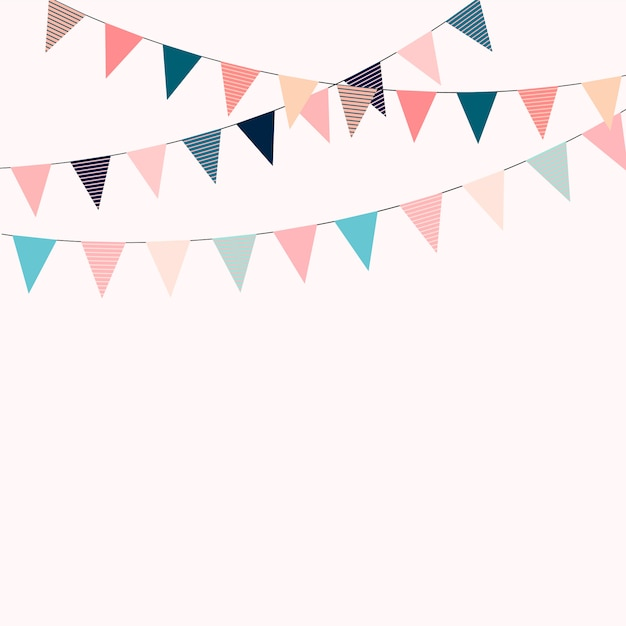 Karnawałowa Girlanda Z Flagami. Ozdobne Kolorowe Proporczyki Na Przyjęcie Urodzinowe, Festiwalowe I Targowe. Premium Wektorów