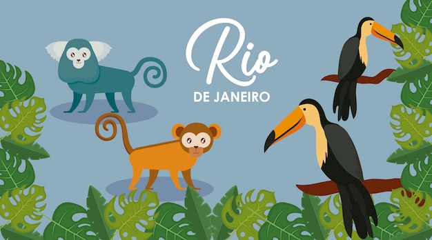 Karnawałowa rio janeiro karta ze zwierzętami egzotycznymi Premium Wektorów