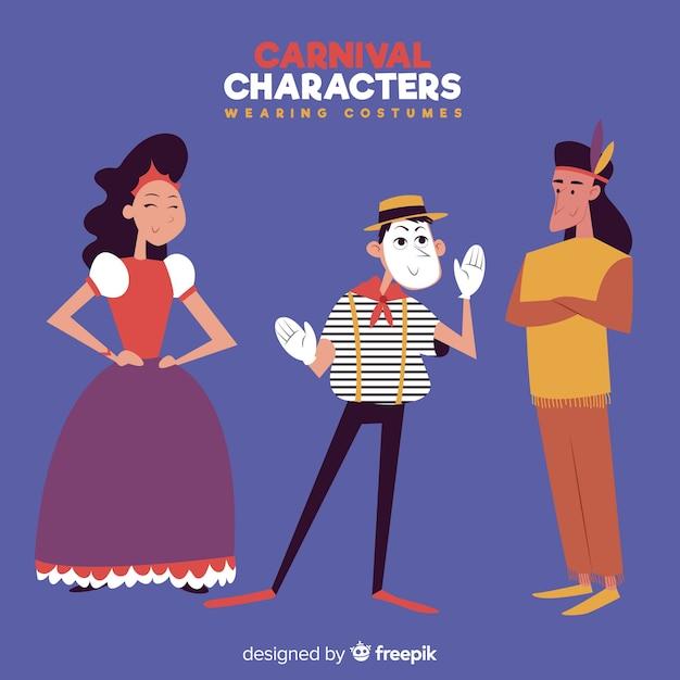 Karnawałowe postacie w kostiumach Darmowych Wektorów